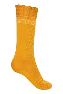 Ажурные носки из хлопка горчичного цвета Gucci