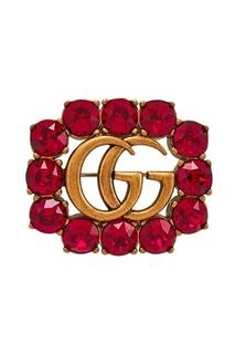 Брошь с красными кристаллами Double G Gucci