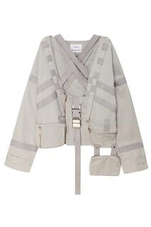 Серая хлопковая куртка с ремнями Heliot Emil