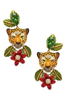 Серьги с леопардами и цветами Dolce & Gabbana