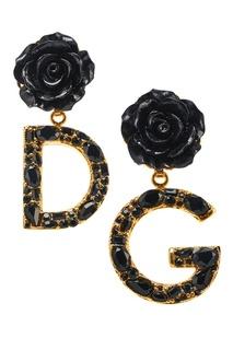 Серьги-клипсы с розами Dolce & Gabbana