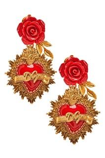 Серьги-клипсы с гравированным сердцем и розой Dolce & Gabbana
