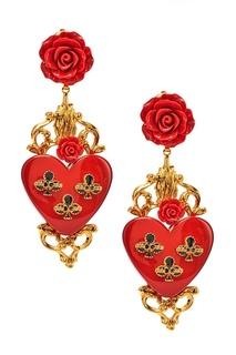Серьги-клипсы с розами и сердцами Dolce & Gabbana