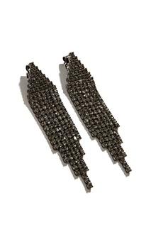 Серьги с черными кристаллами Exclaim
