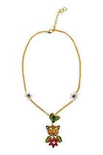 Колье с леопардом и цветами Dolce & Gabbana