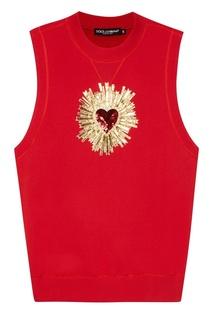 Свитшот без рукавов с аппликацией Dolce & Gabbana