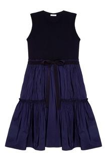 Синее платье с воланами Moncler