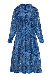 Синее платье из вышитого бархата Alena Akhmadullina