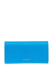 Голубой кожаный кошелек Continental Balenciaga