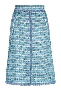 Голубая юбка из твида Alena Akhmadullina