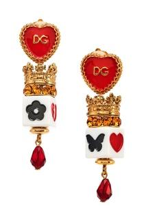 Серьги-клипсы с эмалью и кристаллами Dolce & Gabbana