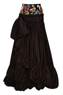 Шелковая юбка с вышивкой на поясе Alexander Mc Queen