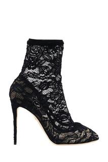 Черные ботильоны с отделкой кружевом Dolce & Gabbana