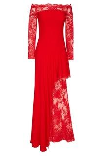Красное платье с кружевом Alexander Mc Queen