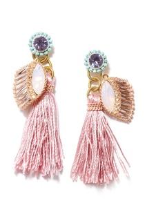 Розовые серьги-кисти с кристаллами Unique