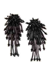 Черные серьги с кристаллами и стеклярусом Lisa Smith