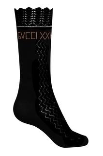 Ажурные носки из хлопка черного цвета Gucci