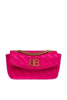 Розовая сатиновая сумка с логотипами BB Round S Balenciaga