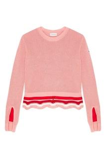 Хлопковый розовый джемпер Moncler