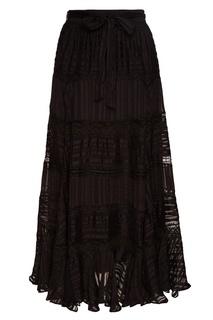 Черная юбка-миди из шелка Zimmermann