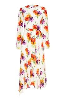Шелковое платье с акварельными цветами Msgm