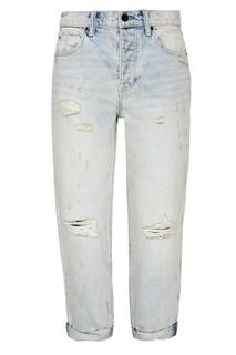 Голубые джинсы из потертого денима T by Alexander Wang