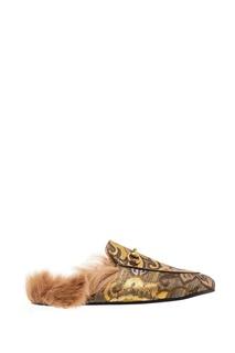 Текстильные слиперы с меховой стелькой Princetown Gucci