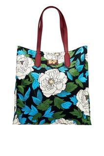 Текстильная сумка с белыми цветами Diane von Furstenberg