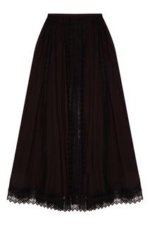 Черная юбка с кружевной отделкой Charo Ruiz