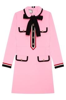 Розовое платье с контрастной отделкой Gucci