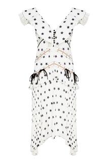 Белое платье со звездами Self Portrait