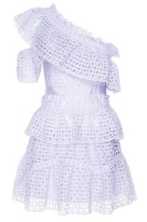 Платье-мини из голубого кружева Self Portrait