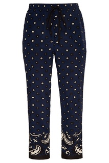 Синие шелковые брюки с принтом RED Valentino