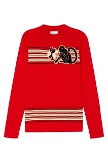 Красный шерстяной джемпер с нашивкой RED Valentino