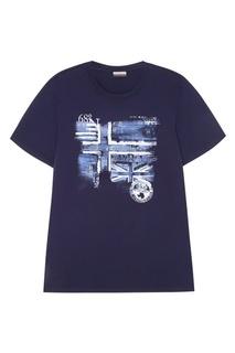 Синяя хлопковая футболка с логотипом Napapijri