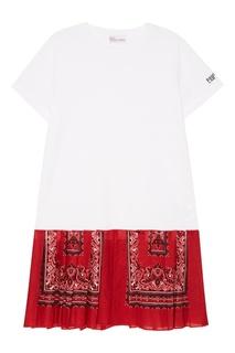 Хлопковое платье с контрастным подолом RED Valentino