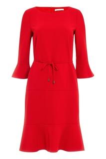 Красное платье с воланами Hugo Boss