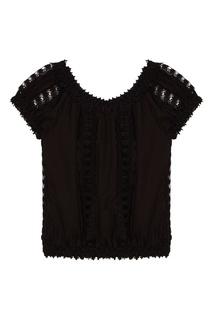 Черная блуза с кружевной отделкой Charo Ruiz