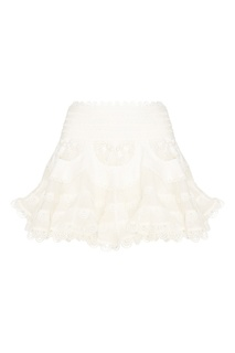 Белая мини-юбка из шелка и льна Zimmermann