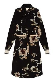 Шелковое черное платье с цветами By Malene Birger