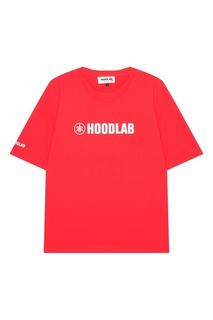 Красная хлопковая футболка с логотипом Hoodlab