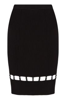 Черная трикотажная юбка в рубчик T by Alexander Wang