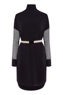 Черное платье с рукавами из сетки By Malene Birger