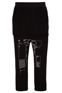 Черные хлопковые брюки с принтом C2 H4