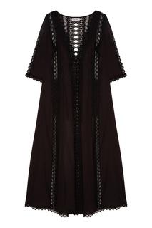 Черный халат с отделкой Charo Ruiz