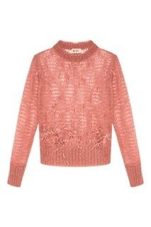 Розовый ажурный джемпер с перьями No.21