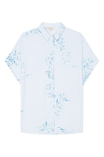 Голубая рубашка в полоску с цветами Akhmadullina Dreams