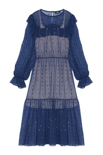 Платье из синего шелка с кристаллами Alena Akhmadullina