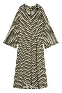Платье-миди из шелка с принтом Alena Akhmadullina
