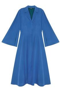 Платье-рубашка из синего шелка Alena Akhmadullina